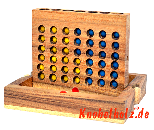 Strategy game connect four bingo samanea wooden box
