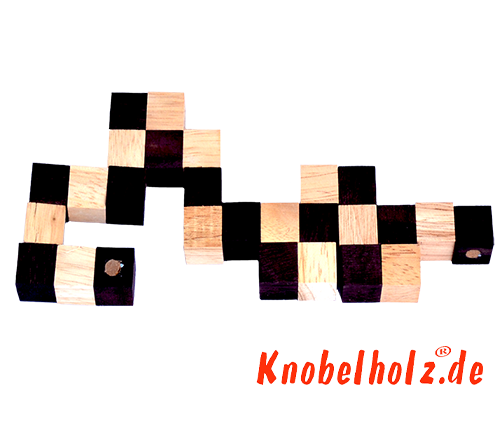 Snake cube solution of the color nature brown beige the snake cube level box step 2 of the solution wooden puzzle