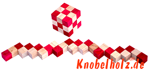 snake cube level box red small line up holz puzzle