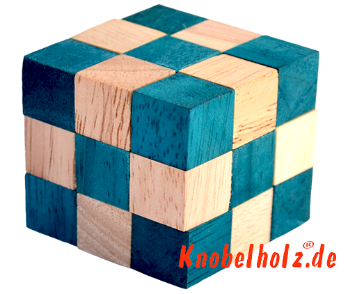 snake cube türkis aus der snake cube level box holzpuzzle collection