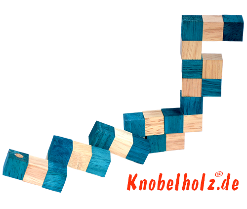 Snake Cube Lösung der Farbe Türkis der snake cube level box step 2 of the solution wooden puzzle