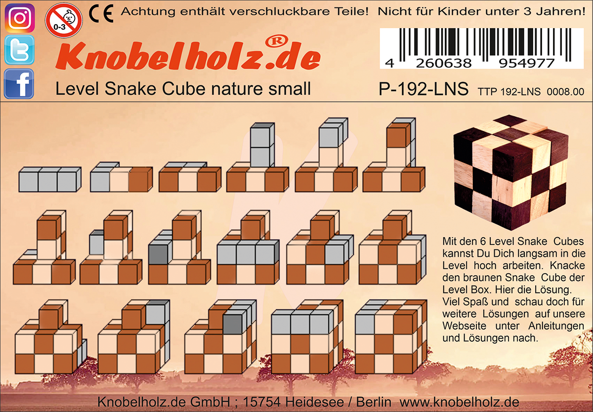Solution for printing the Snake Cube türkies small the Snake Cube Level Box