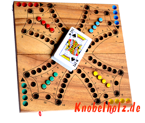 Tock Tock Dog Game wooden game board with playing cards