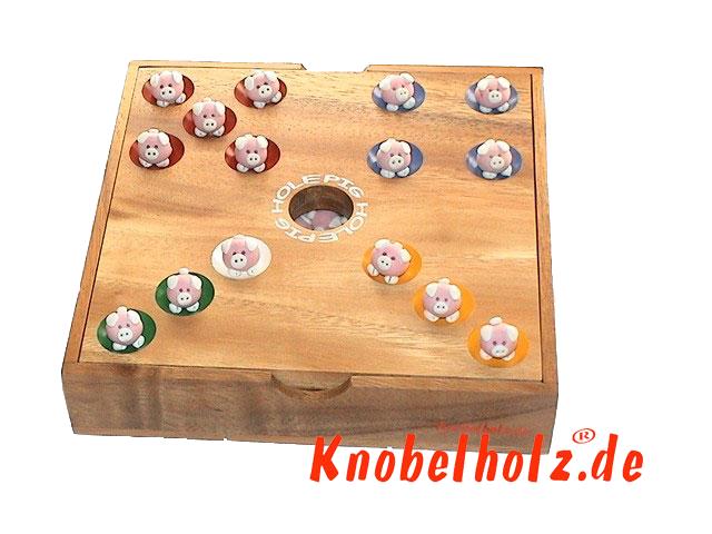 Pig Hole Schweinchenspiel original Knobelholz Würfelspiel 6 Personen Brettspiel