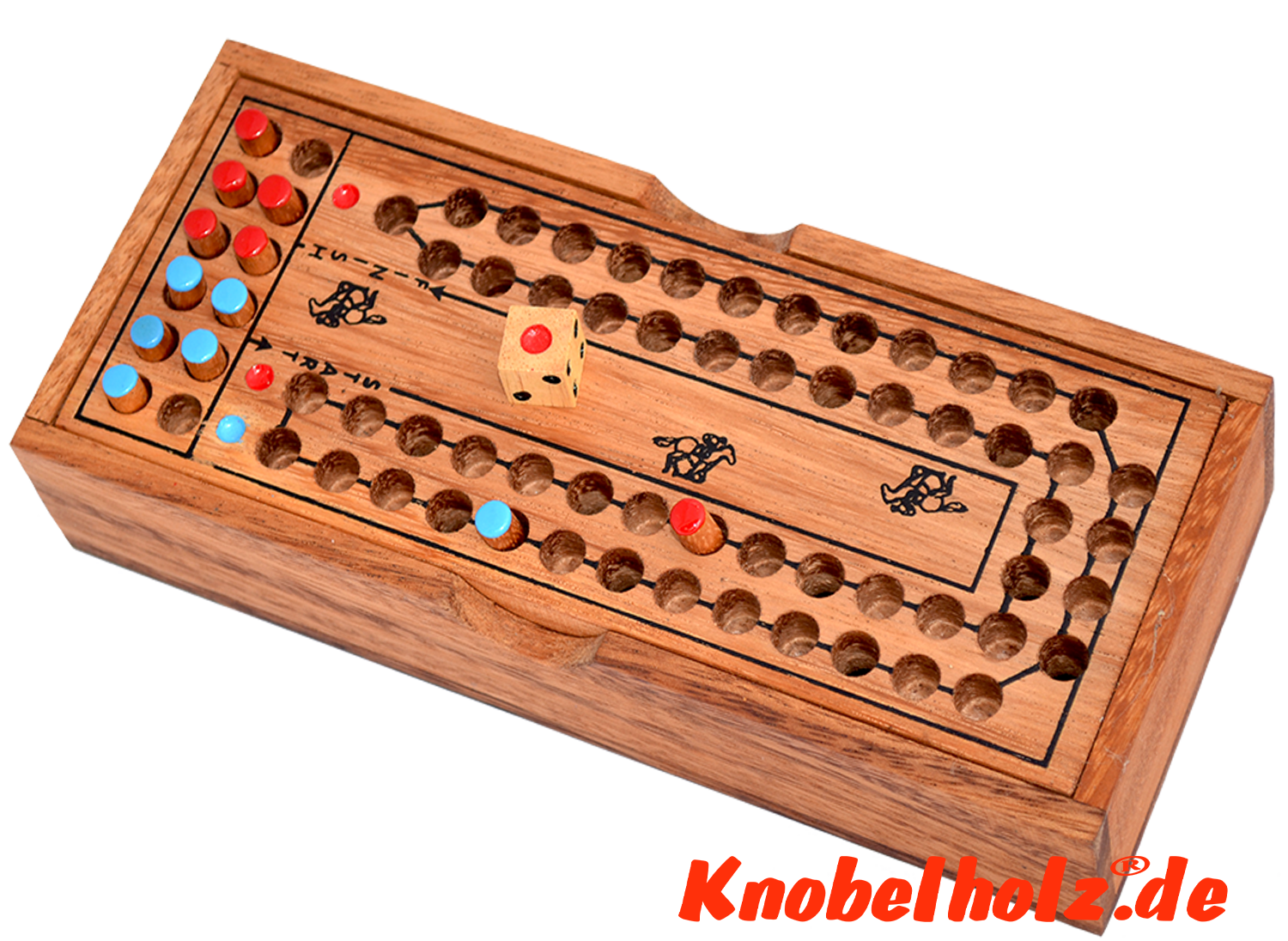 horse race dice game monkey pod wooden box for 2 player