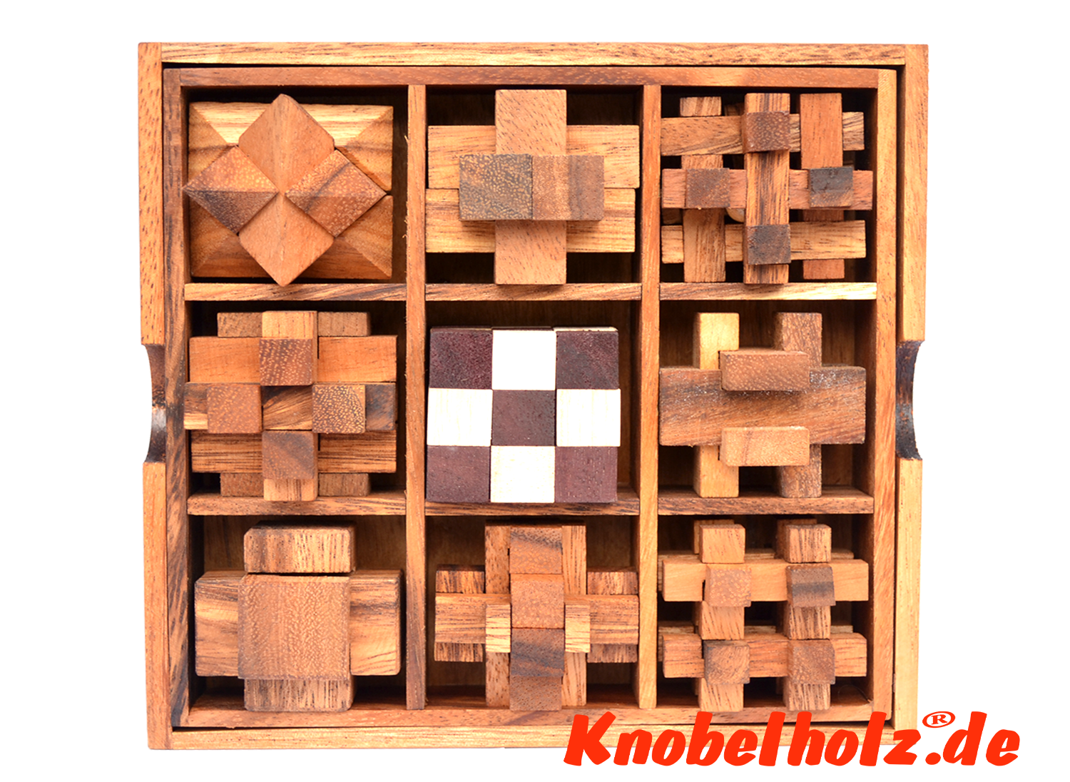 wooden puzzle gift set box with 9 puzzle
