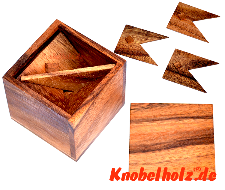 Keep in Box Holzpuzzle, Knobelsbox mit 3 Holzteilen Trick Puzzle in Holzbox Samanea Holz