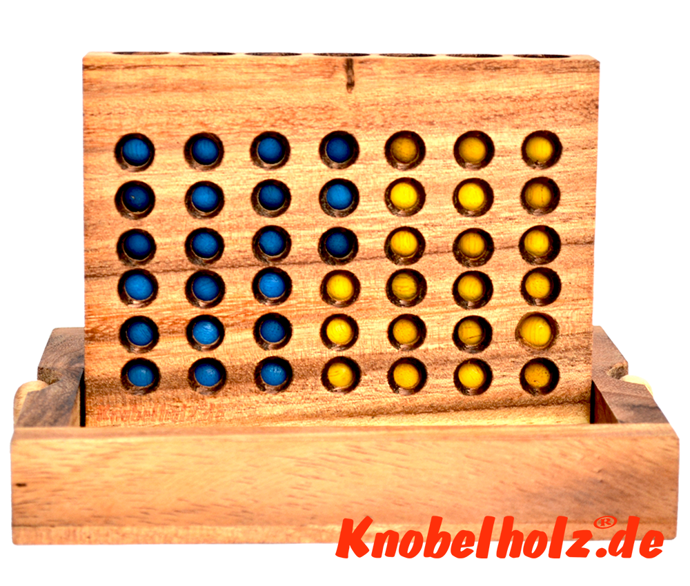 Connect Four Bingo 4 Box Strategiespiel Samanea Holzspiel für 2 Spieler mit den Maßen 17,5 x 12,8 x 3,0 cm, connect 4 in wooden box Monkey Pod