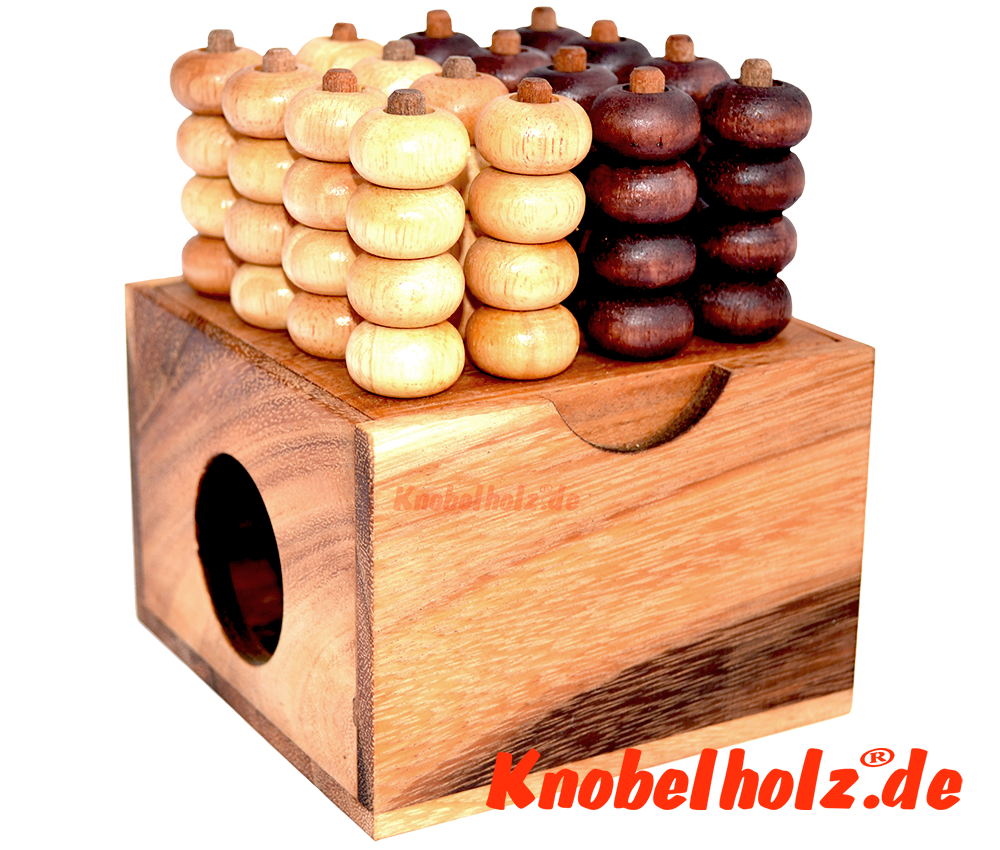 Connect Four 4x4 Bingo 3D Raummühle Samanea Box Strategiespiel für 2 Spieler mit den Maßen 12,0 x 11,8 x 8,2 cm, connect 4 in wooden box Monkey Pod