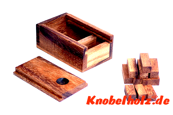 Little Box Puzzle, Little Box Holzpuzzle, Puzzle 3D, Wooden IQ Game, Geduld Puzzle, Denkspiel in den Maßen 8,5 x 5,3 x 3,8 cm, samanea brain teaser