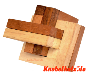 Criss Cross Jam Interlock Holzpuzzle jammed intersection puzzle in size 7,8 x 7,8 x 7,8 cm samanea wooden game