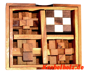 Holzpuzzle Knobelbox mit 5 Knobelspielen Snake Cube, Flying Cross, Teufelsknoten, Brick Puzzle, Holzpuzzle