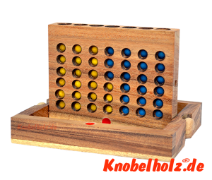 Connect Four Bingo Ball Box small Strategiespiel Samanea Holzspiel für 2 Spieler mit den Maßen 17,5 x 12,8 x 3,0 cm, connect 4 in wooden box Monkey Pod