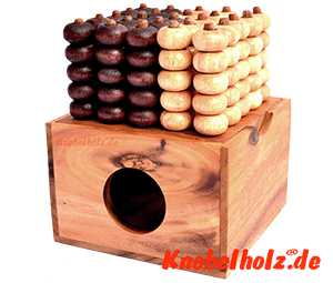 Connect Four 5x5 Bingo 3D Raummühle Box Strategie Samanea Spiel für 2 Spieler mit den Maßen 14,2 x 14,2 x 9,7 cm, connect 4 in wooden box Monkey Pod