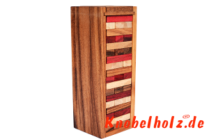 Wobbly Game Tower Color mit Würfel Wackelturm medium farbig Spielspass für die ganze Familie in den Maßen 24,0 x 7,8 x 7,2 cm, Stapelturm Würfel medium tower samanea wooden game