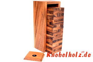 Wobbly M Game Tower Wackelturm medium ein Spielspass für die ganze Familie in den Maßen 23,3 x 7,8 x 6,8 cm, stapelturm medium samanea wooden game
