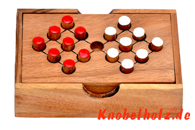 Switch 16 Strategiespiel Steckhalma colour checker samanea wooden box