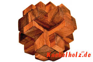 Locking Wooden Cube Interlock Puzzle aus Holz in den Maßen 4,8 x 4,8 x 4,8 cm, monkey pod puzzle