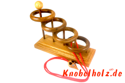 4 Ring Leiter Four Ring Schnurpuzzle Holzpuzzle mit Standfuß