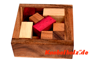 Problem Packing Puzzle Box 3 D, Knobelspiel Pack Puzzle aus Holz mit den Maßen 14,5 x 14,5 x 4,0 cm monkey pod wooden brain teaser