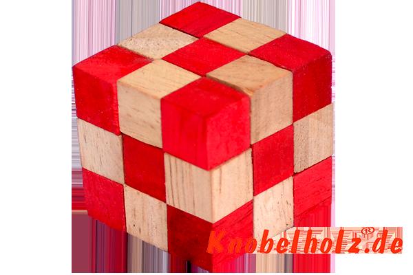 snake cube rot medium holzpuzzle. Black Bedroom Furniture Sets. Home Design Ideas